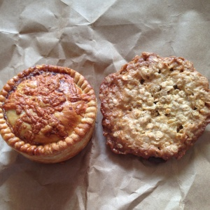 Spinach Royal Pie (l) & Chocolate Lace Cookie (r)