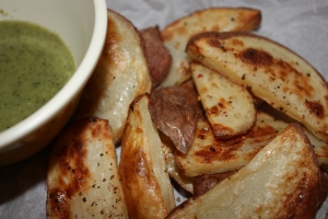 Potato Wedges with Dill Sauce