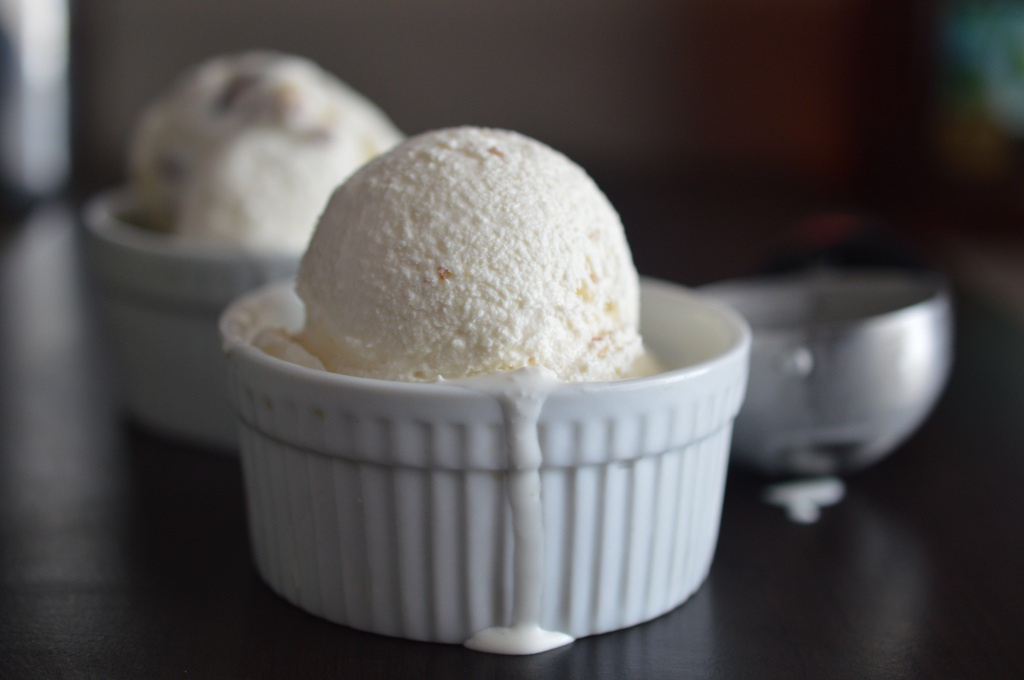 Buttered Almond Bourbon Ice Cream