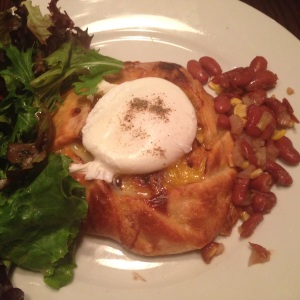 No. 10 - Crawfish & Green Tomato Galette with Sweet Corn & Red Bean Relish topped with a Poached Egg @ Kingfish